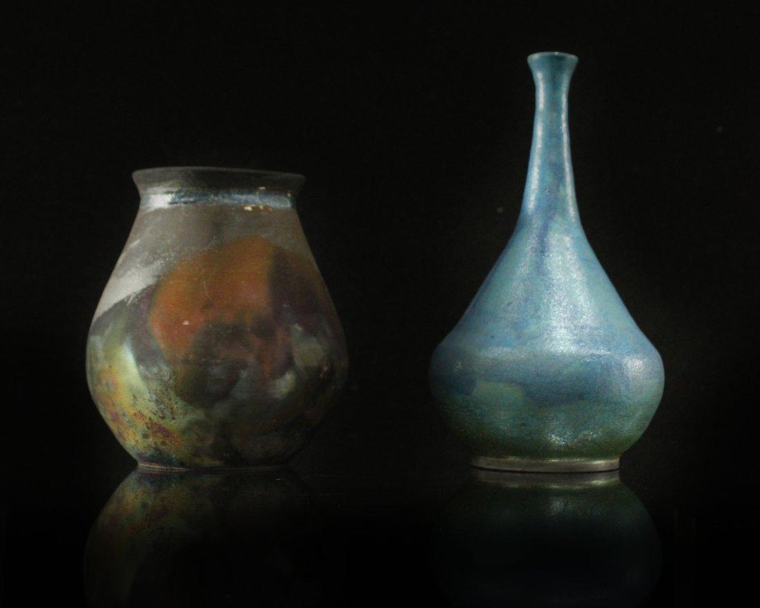 Two [2] Modern Design Studio Art Pottery Vases Signed