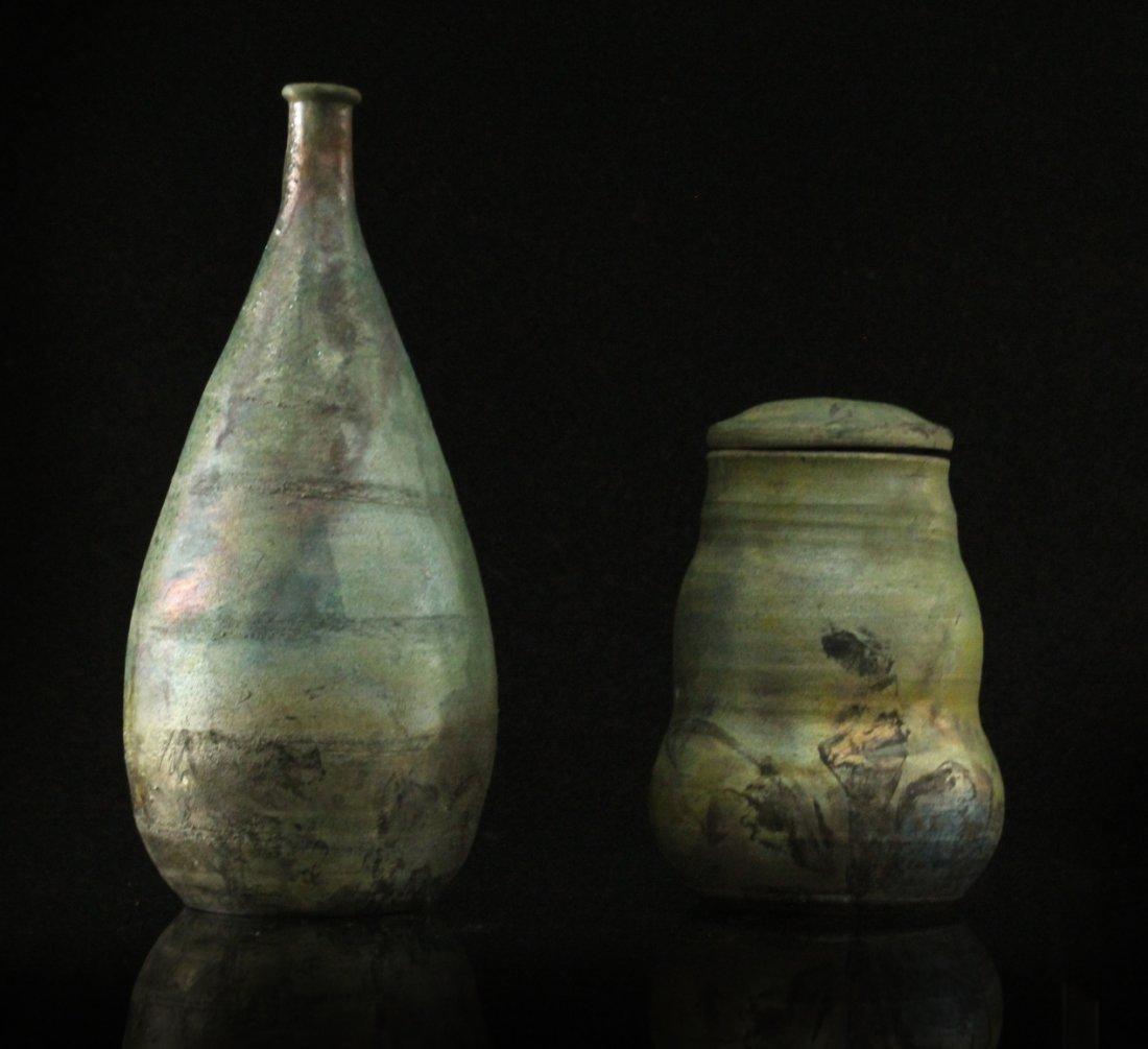 2 Pc. Modern Design Studio Art Pottery Vase Covered Jar