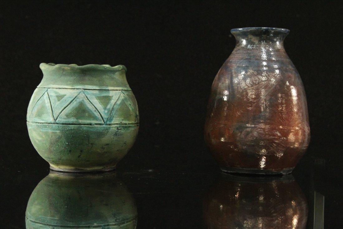 Two [2] Modern Design Studio Art Pottery Glazed Vases