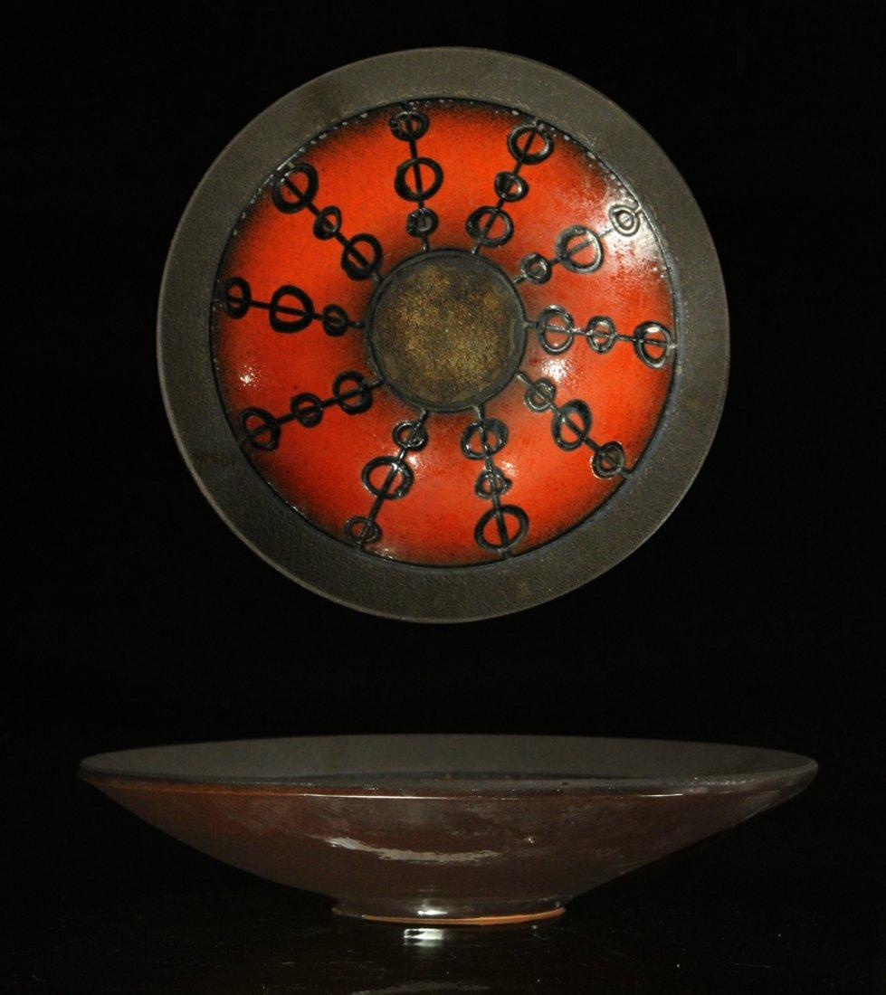 Mid-Century Modern Orange Glazed Pottery Bowl
