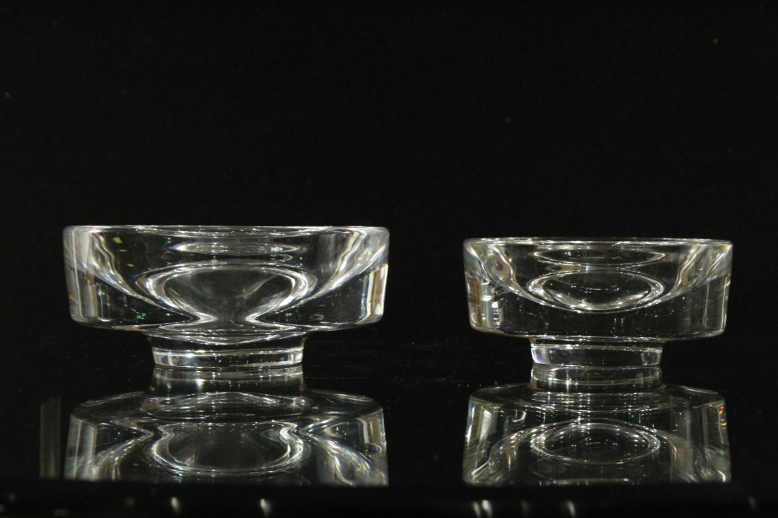 Two [2] Hadeland  Glass Norway Clear Shallow Bowls