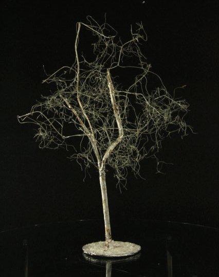 Mid-Century Metal Tree Sculpture,  Silver Finish