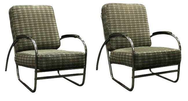 Pair RoyalChrome Streamlined Chairs Wolfgang Hoffman