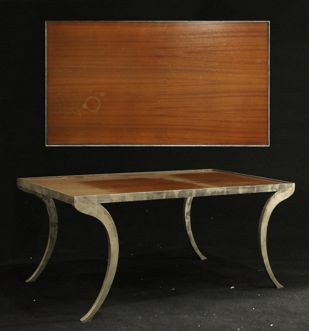 Mid-Century Silver Wash Metal Sculptured Coffee Table