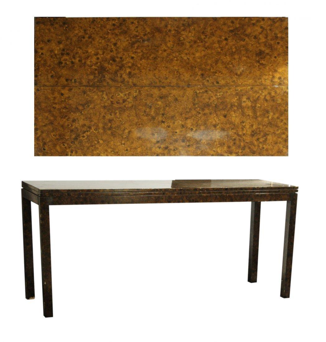 Milo Baughman Style Burl Wood Flip Top Extension Table