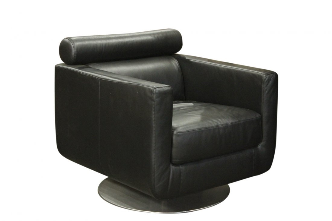 Space Age Black Leather Cube Chair Swivel Base