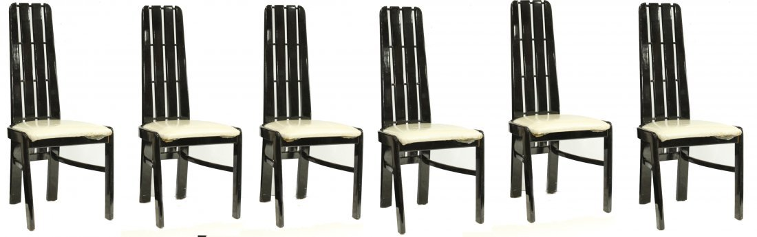 Set 6 Paco Capdell Sillero Black Lacquer Dining Chairs