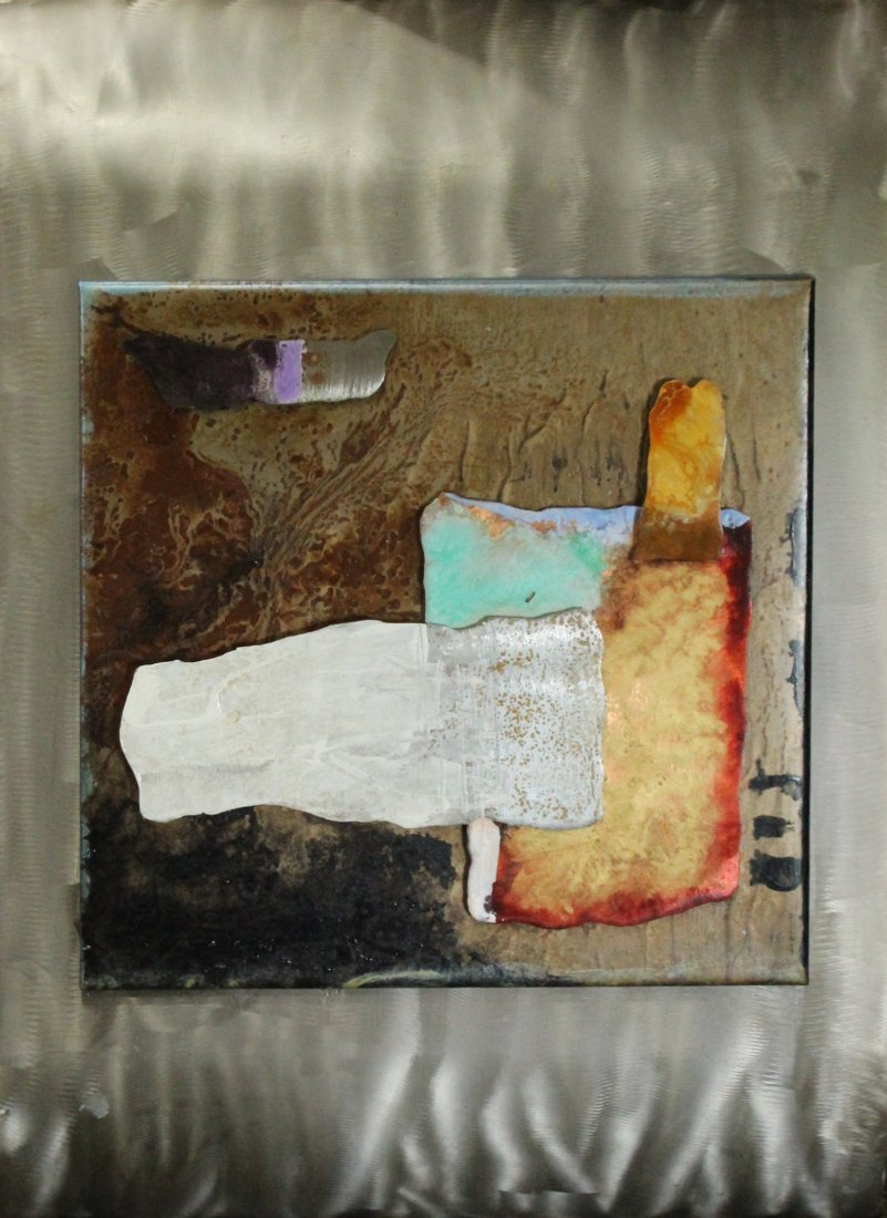 Hollack, Mixed Media On Metal Wall Hanging Art , Signed