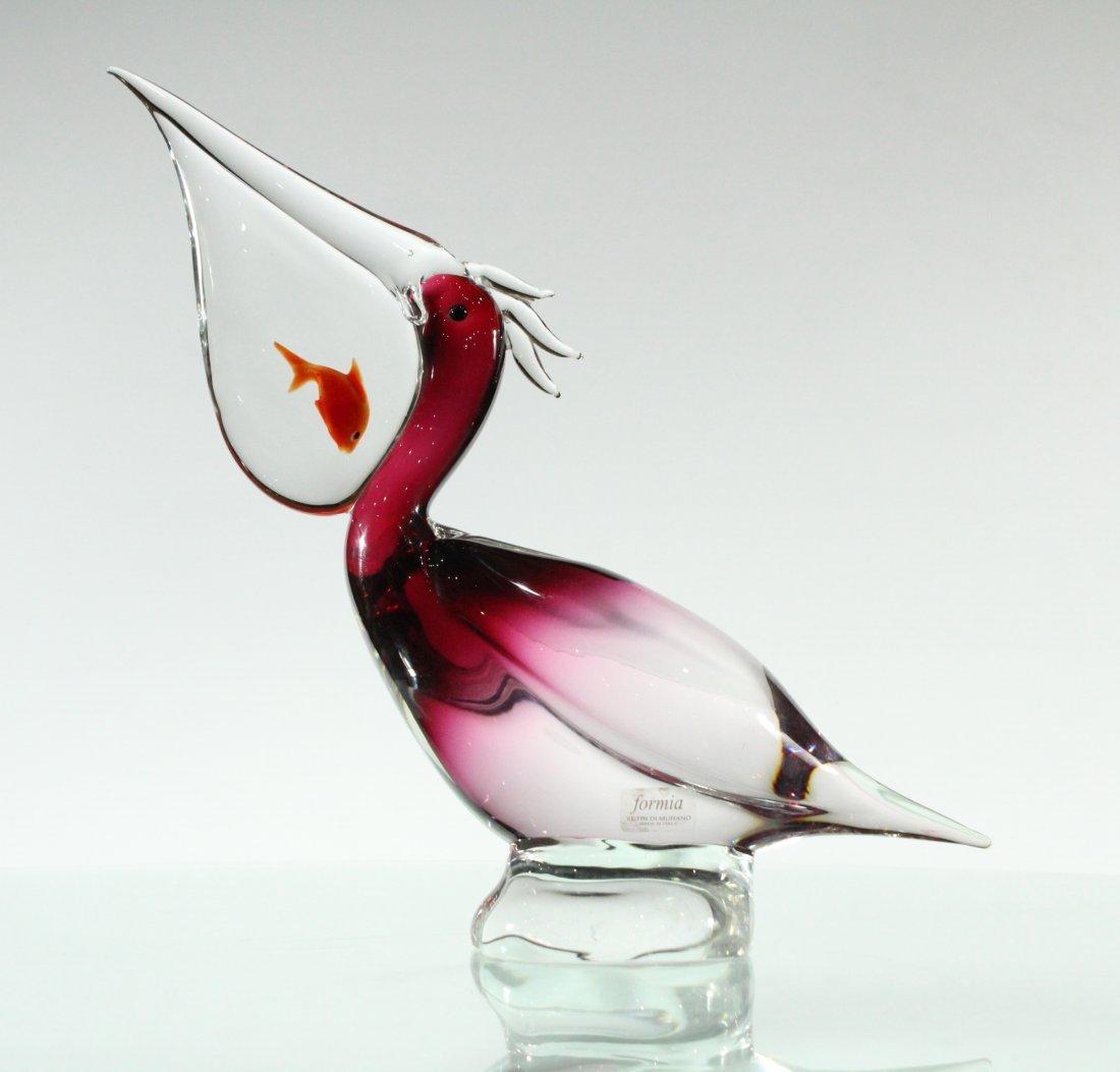 RARE Murano Glass Pelican With Fish In Bill