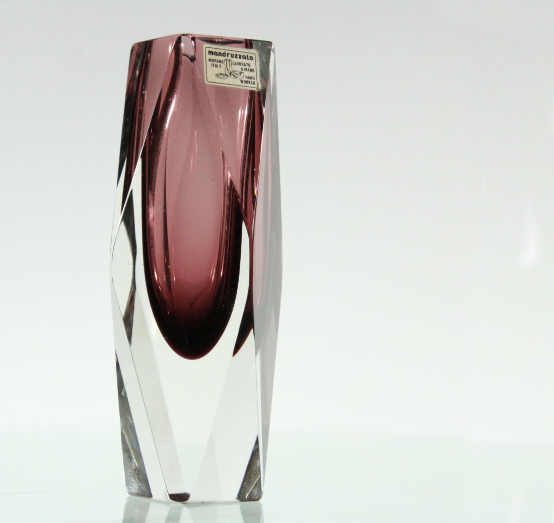 Mandruzzato Italy Mid-Century Faceted & Polished Vase