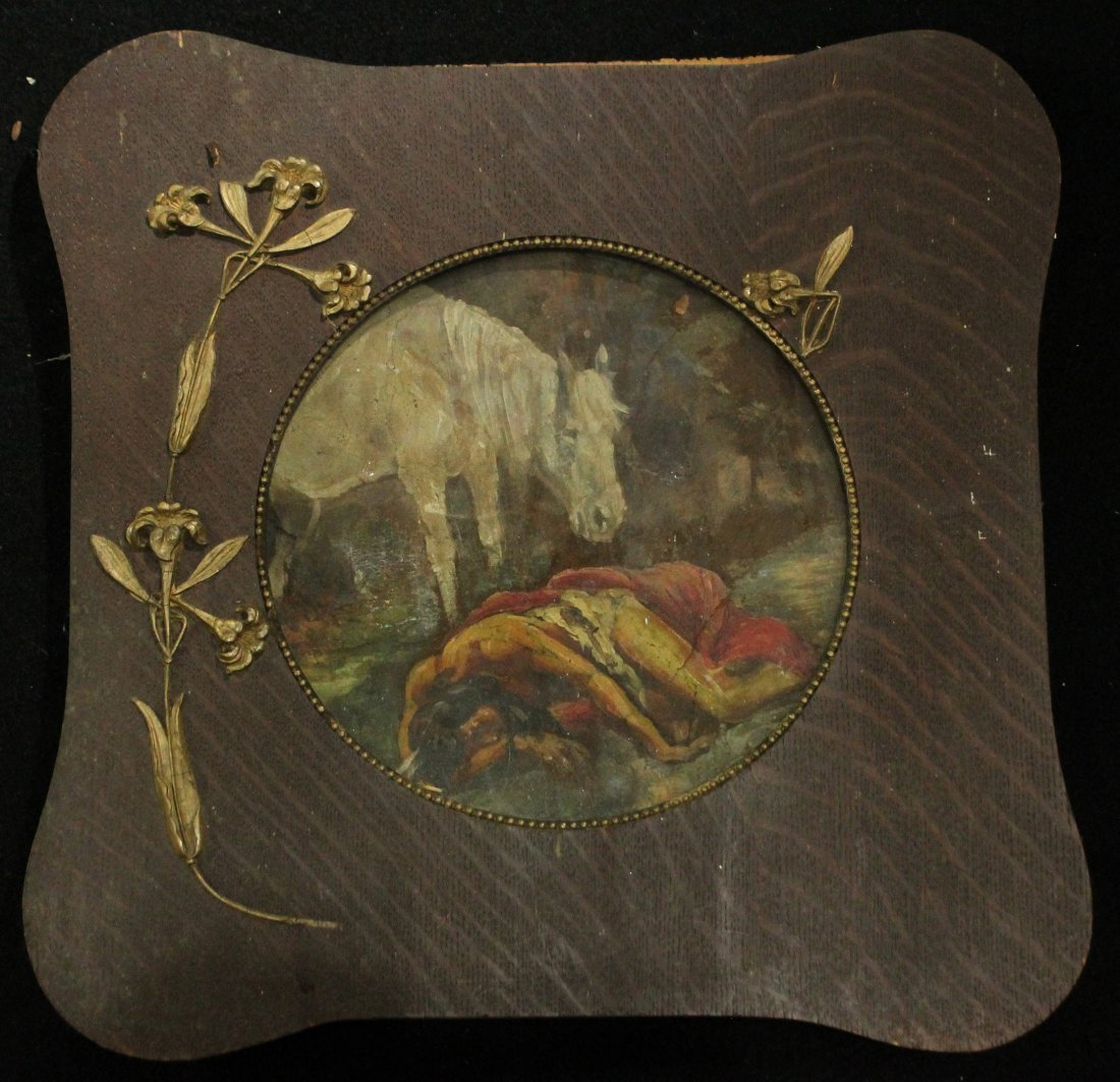Native American Resting With Horse, Painting on Leather
