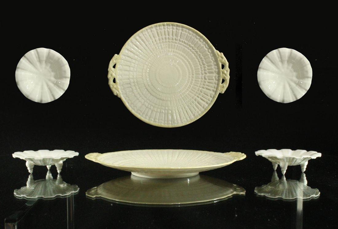 Belleek platter and pair royal Worcester porcelain