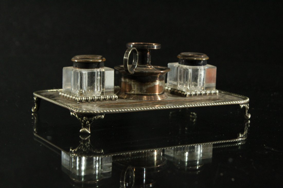 England silver plate inkwell