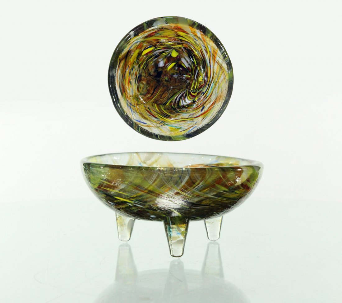 Mid-century style footed bowl, handblown glass