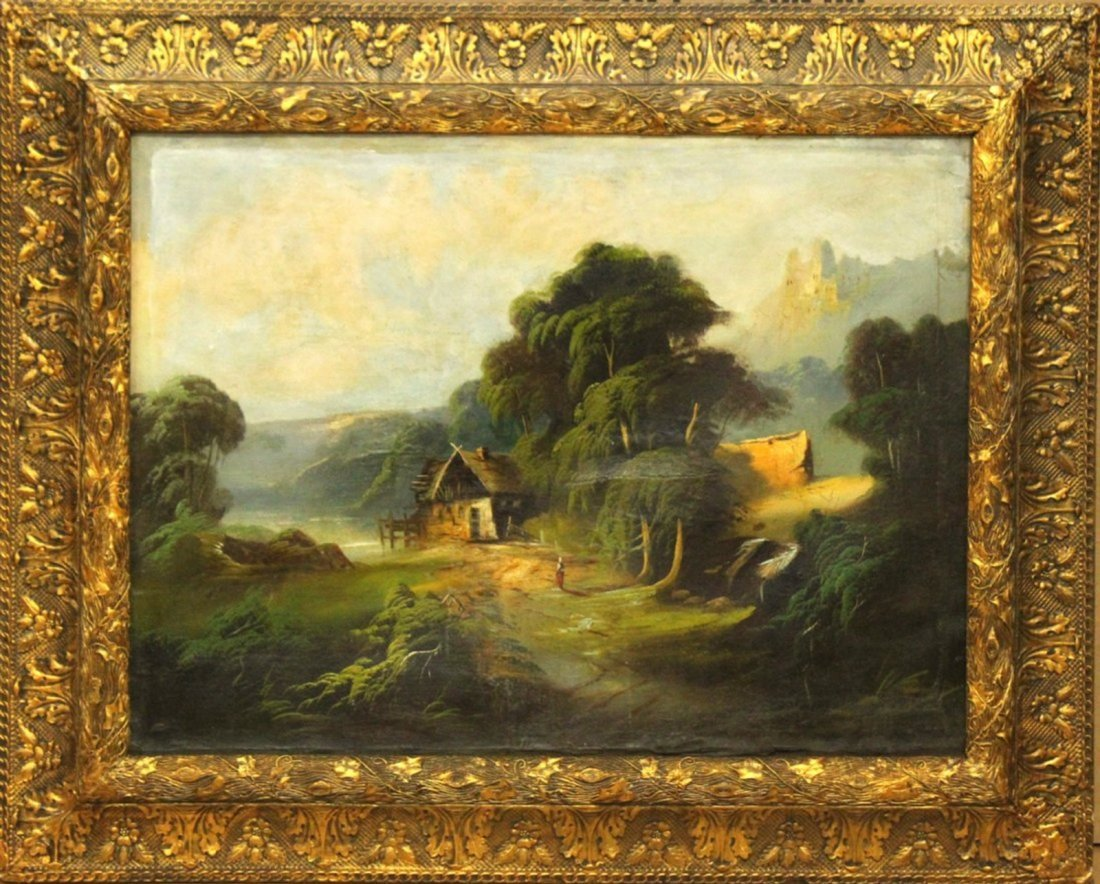 19th C Oil/C River Valley Cottage With Figure Landscape