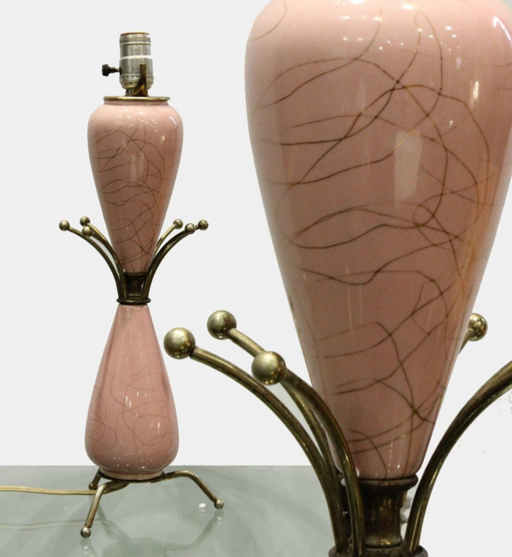 Mid-century modern pink atomic lamp with brass elements