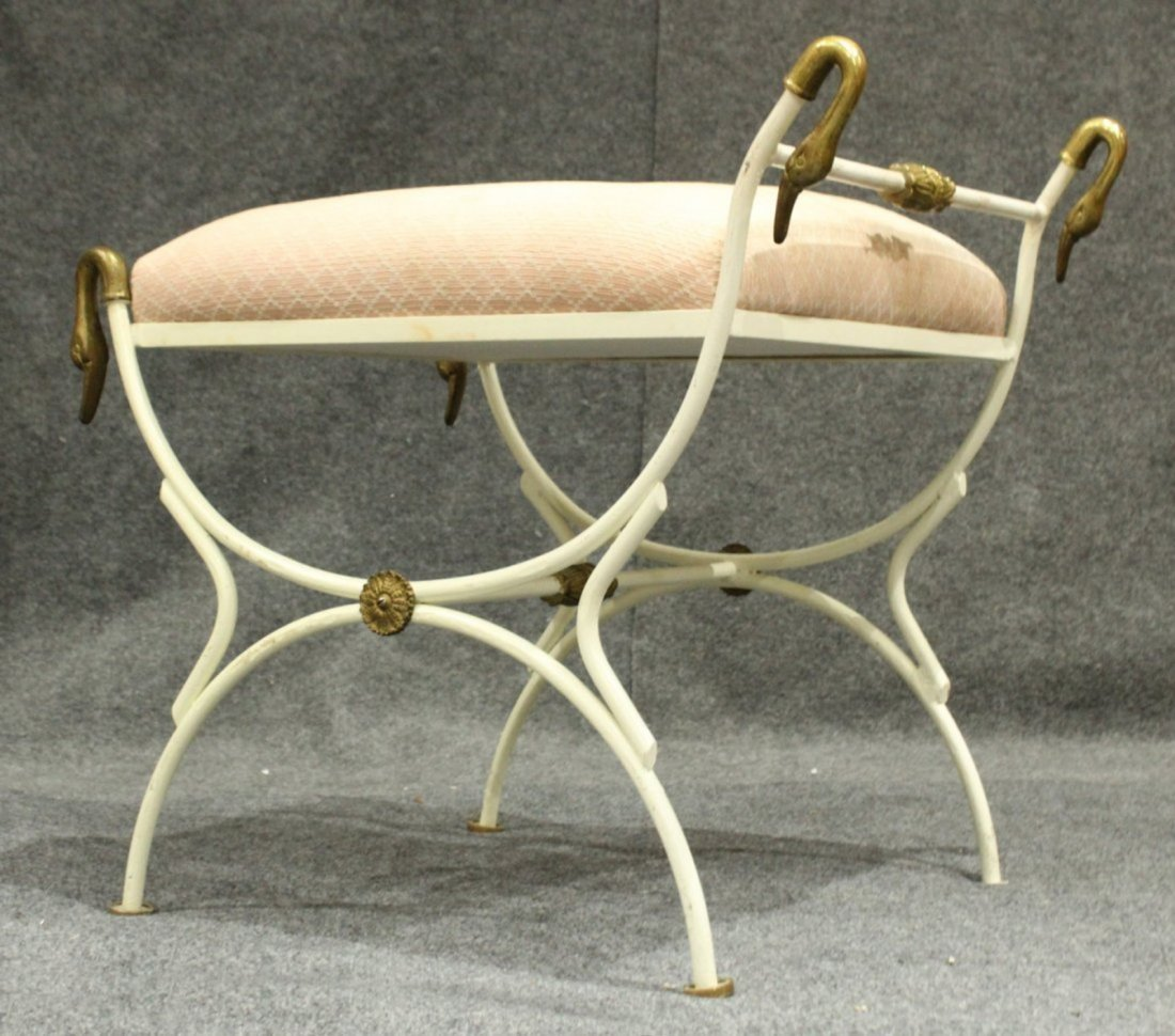 French Metal Vanity Stool With Brass Swan Heads