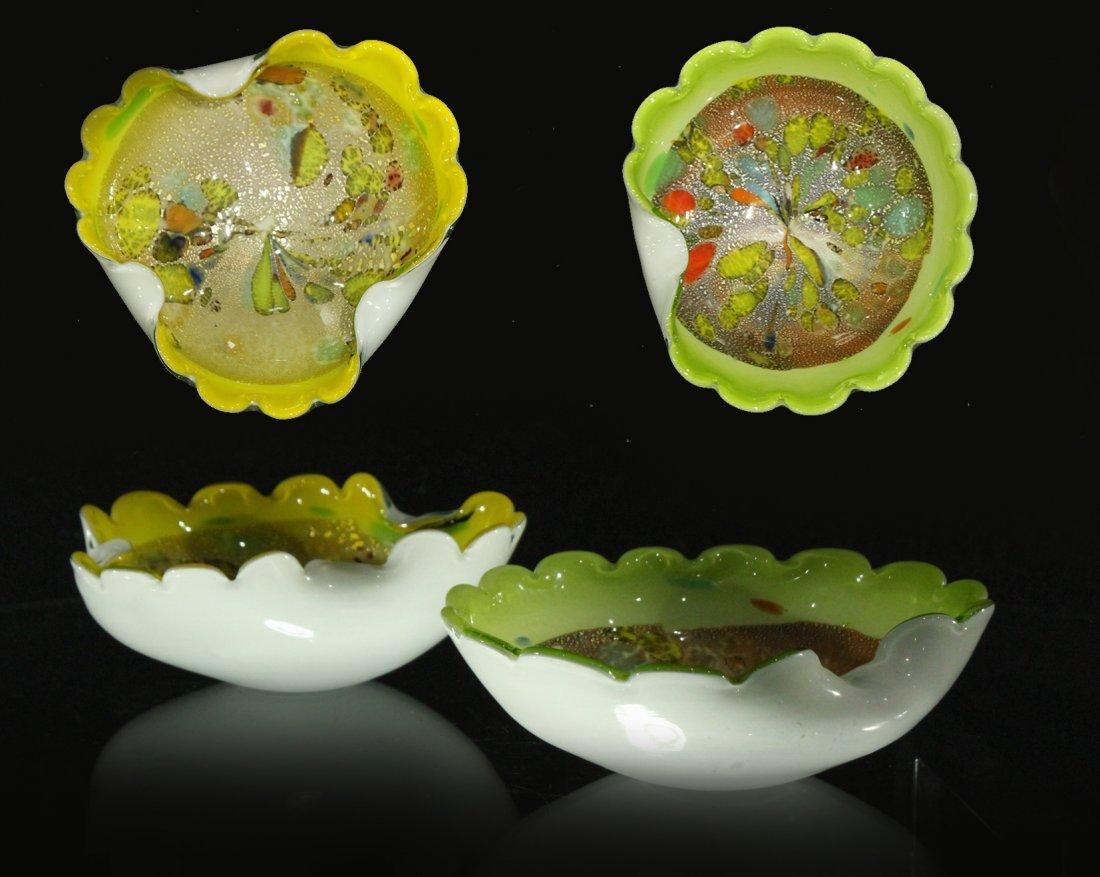 2x (two) Gold flecked murano Italian bowls