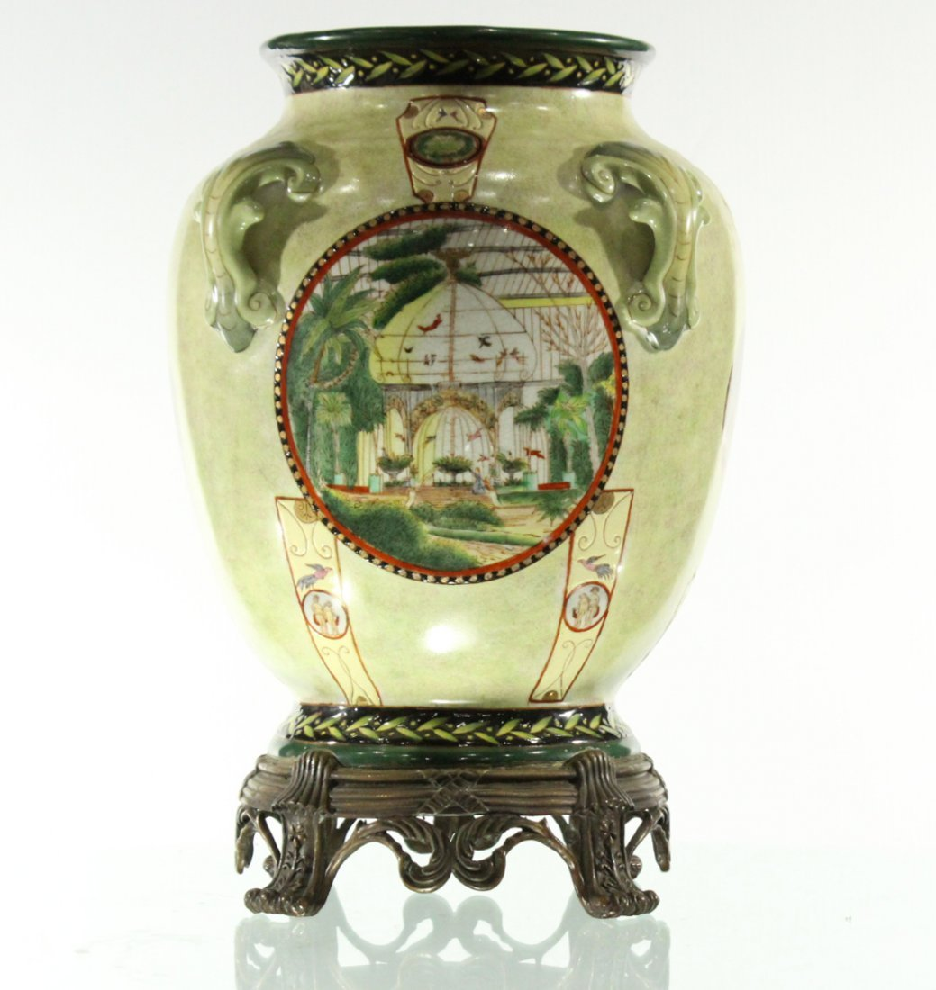Royal WL urn / flower pot on stand religious scenes