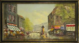 ROBERT Vintage Oilc French Street Scene Outdoor Cafe