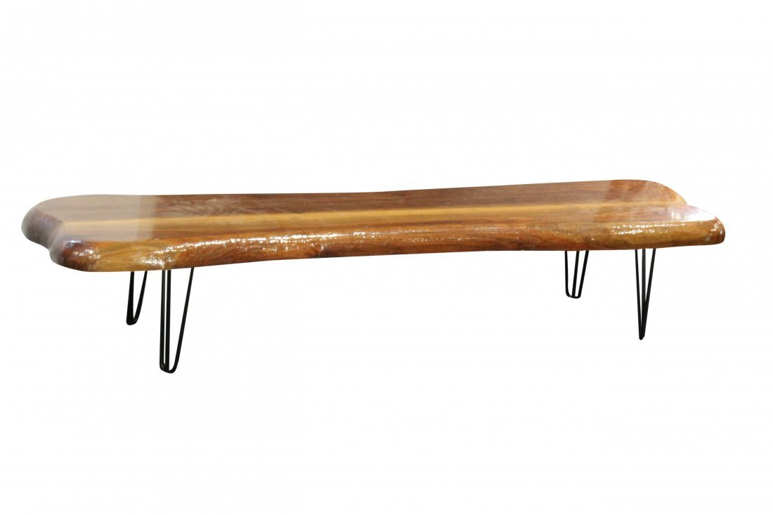 Mid-Century Natural Wood Plank Coffee Table Hairpin Leg