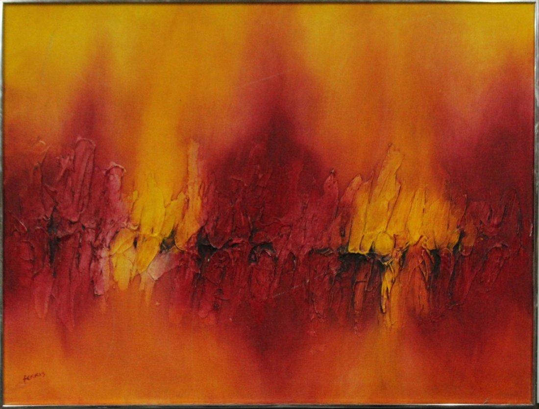 ROBERTA FERRIS, Oil/C Mid-Century Modern Abstract