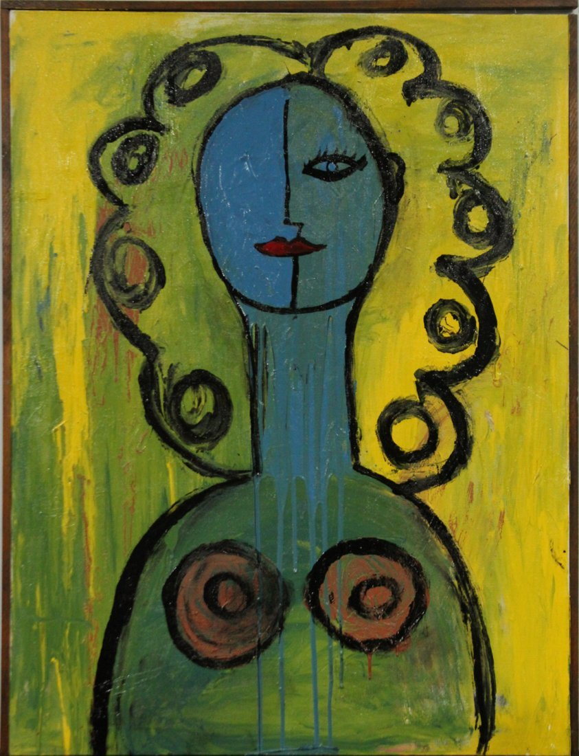 Mid-Century Modern Oil/C Abstract Woman Portrait