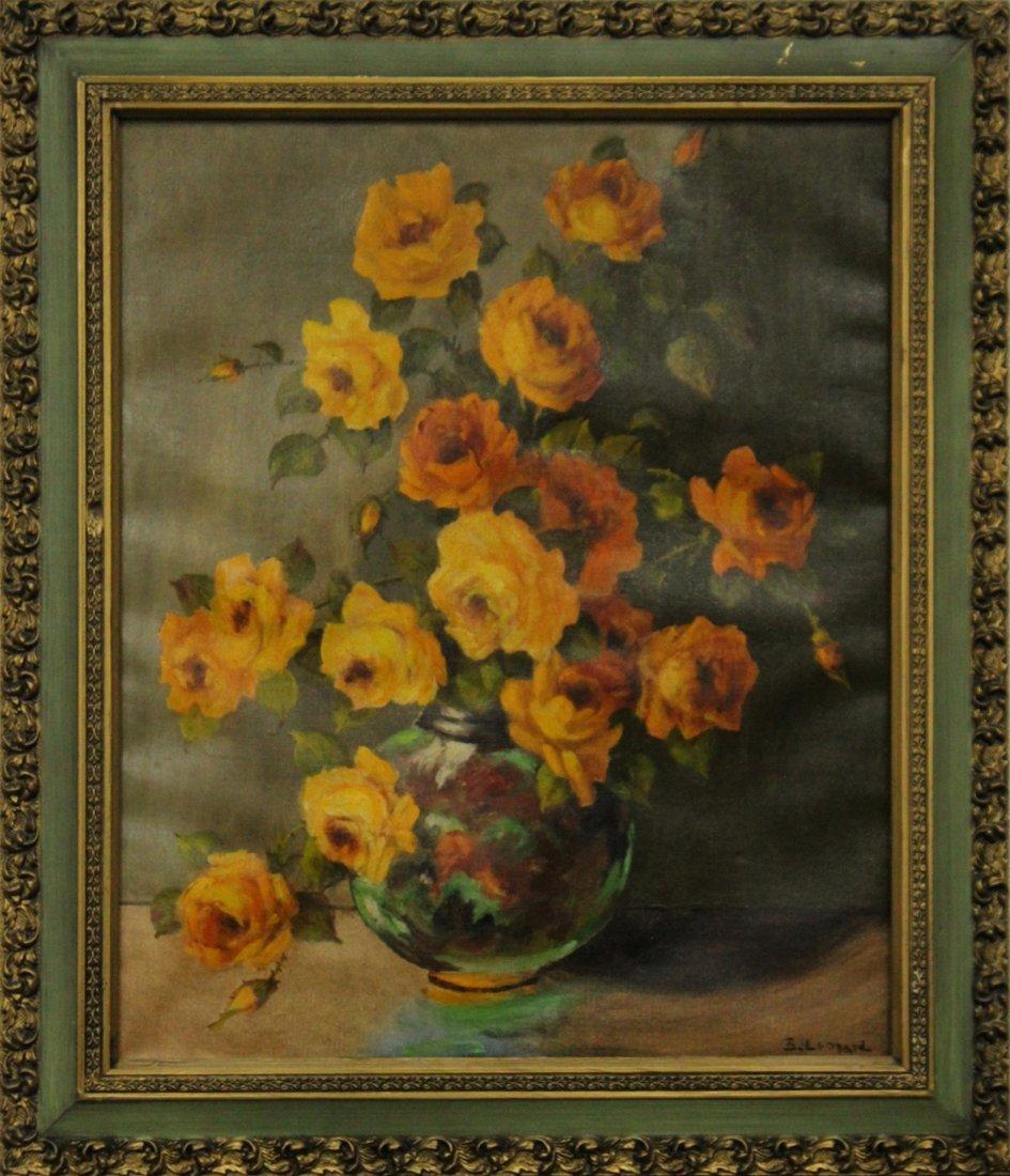 B. LEONARD, American, Oil.C Flowers in a Glass Bowl