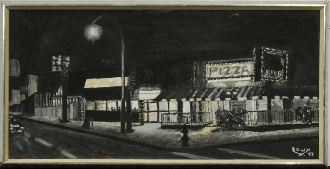 DAVID LOWY, Oil/C  Night Scene, Signed and Dated 1977