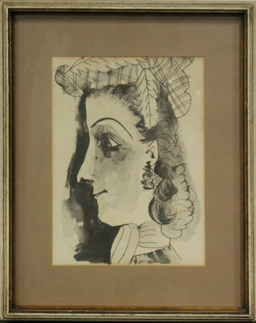 PABLO PICASSO Estampe Portrait Of Woman w/ Authenticity