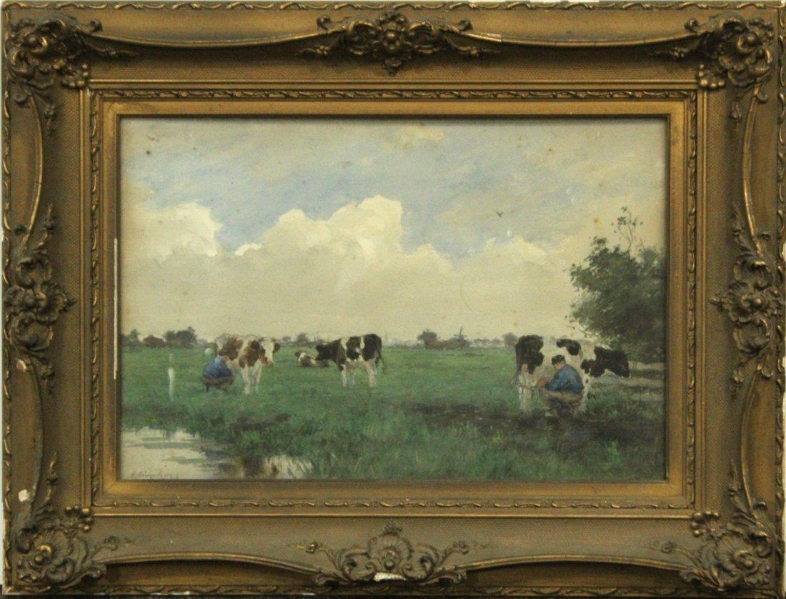 A. GRAENEDGEN, 19th C. Watercolor Cows in Pasture