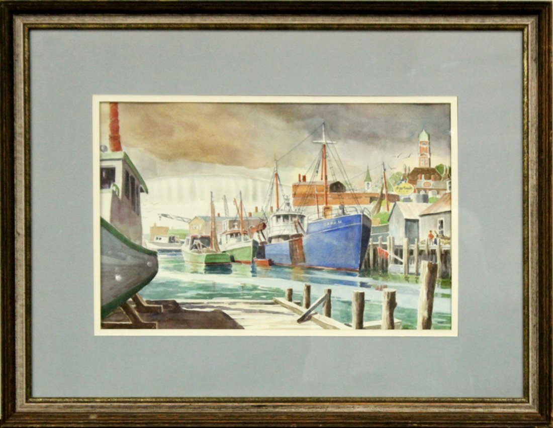 F W SPENCER, Watercolor Gloucester Harbor, Mass.