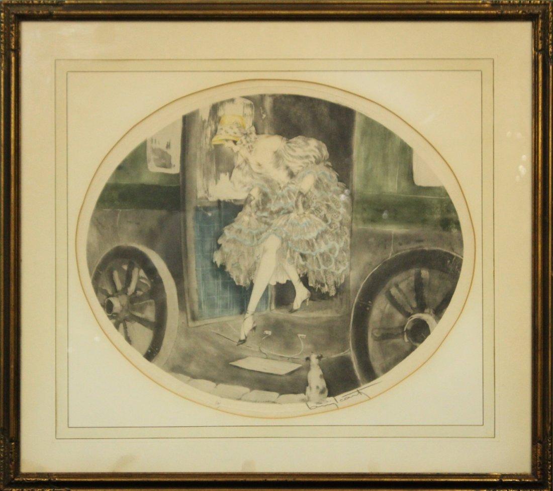 LOUIS ICART , Original Etching Titled 1830, Orig. Frame