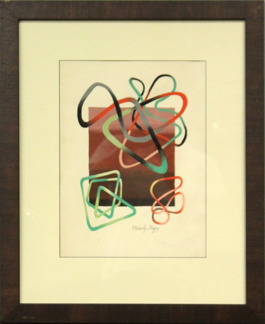 LASZLO MOHOLY-NAGY, Gouache, Modernism Abstract Ribbons