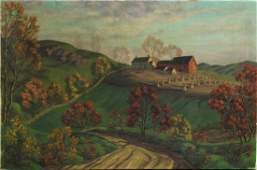 PAUL WORONOFF, Oil/C, Homestead on Hilly Farm Land