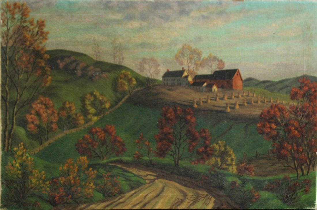 PAUL WORONOFF, Oil/C, Homestead on Hilly Farm Land