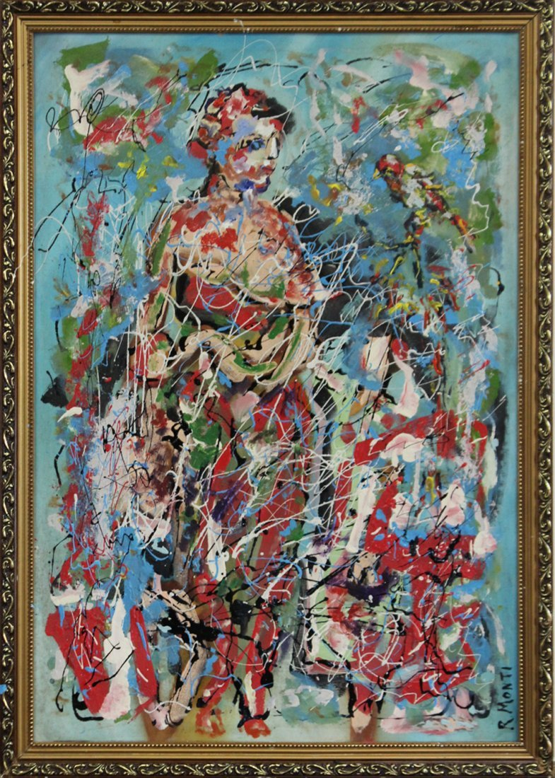 R MONTI, Oil/C Woman, Child, Bird in Abstract