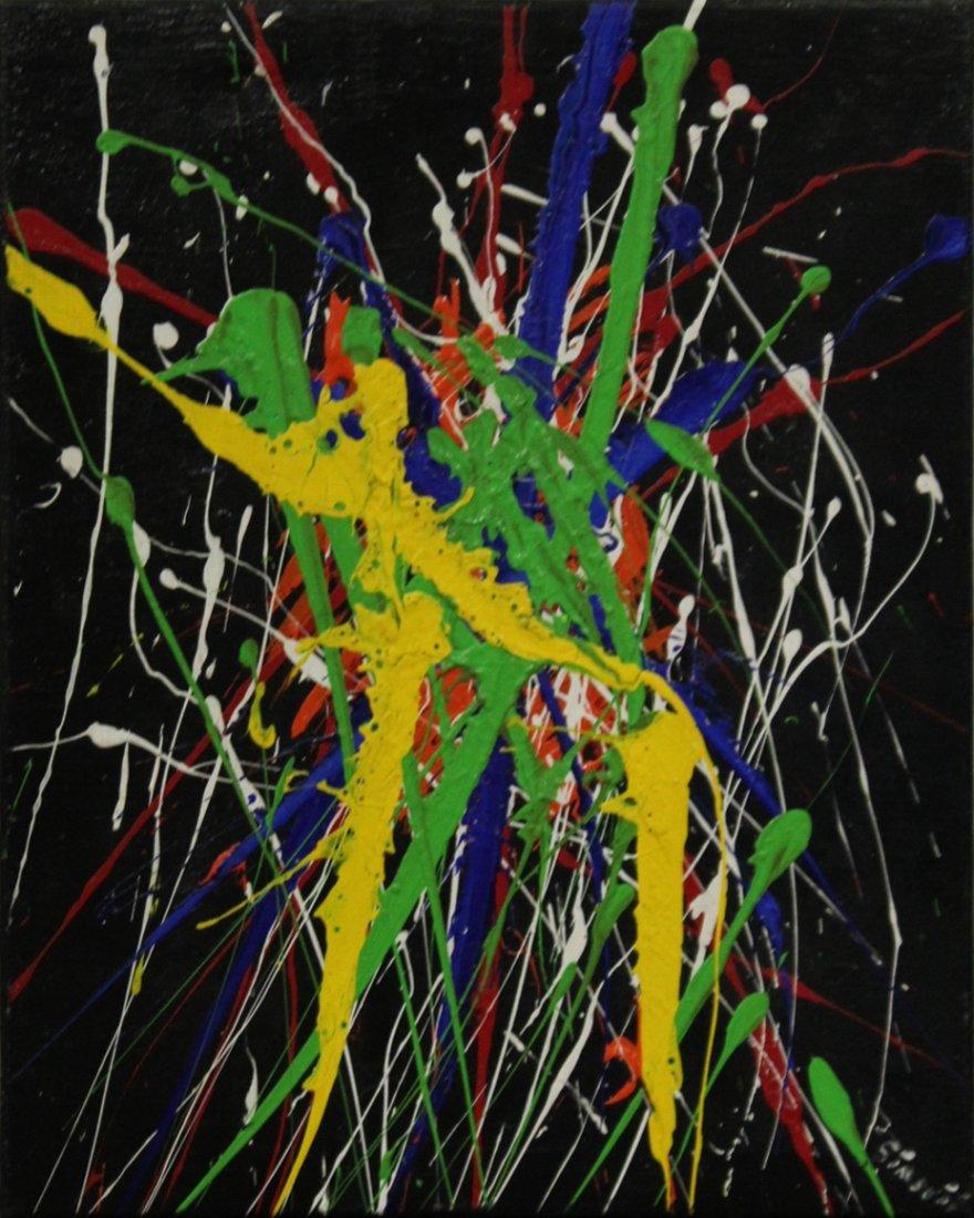 SIMORIL, Mid-Century Motion Drip Art Abstract Oil/C