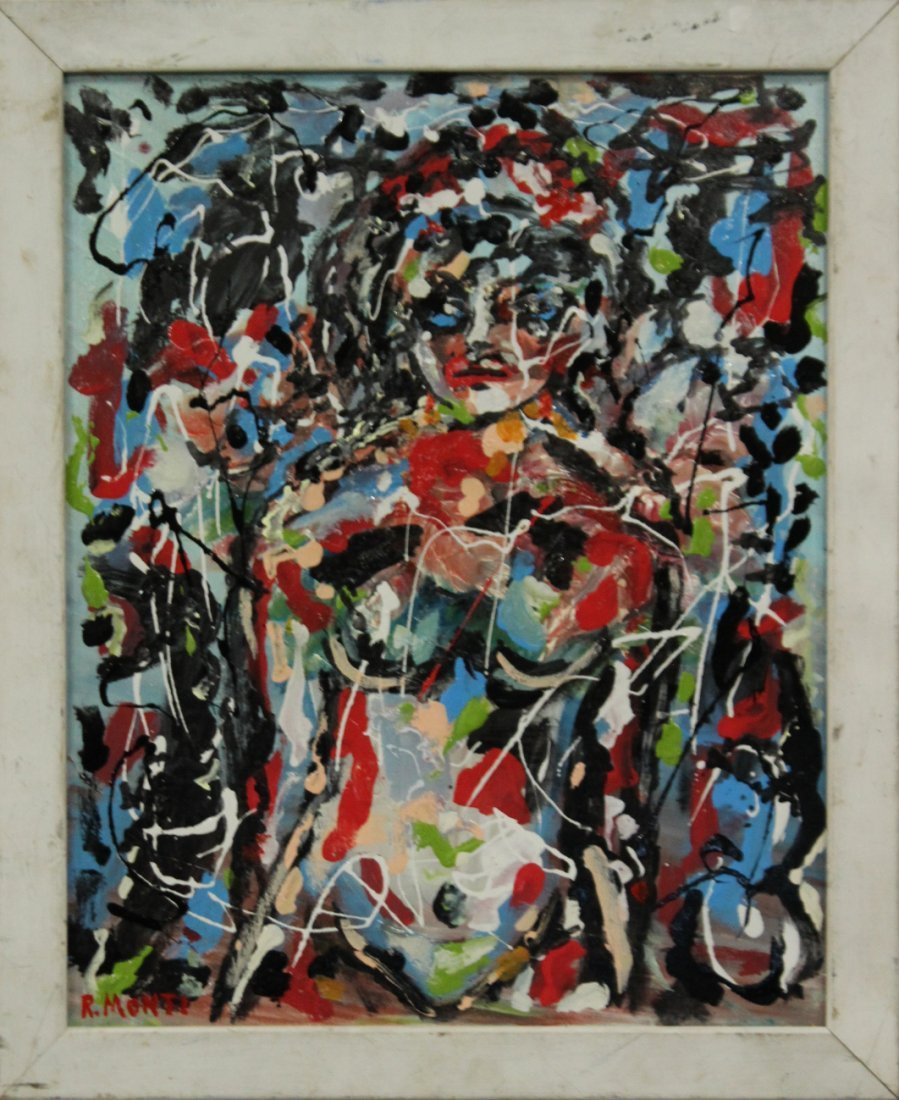 R MONTI, Oil/C Mid Century Nude Woman In Abstract