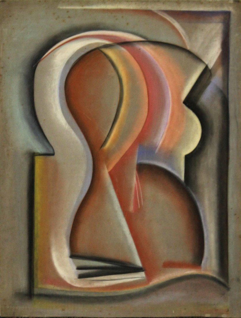TENNHARDT,  Pastel, IMPORTANT ABSTRACT SIGNED