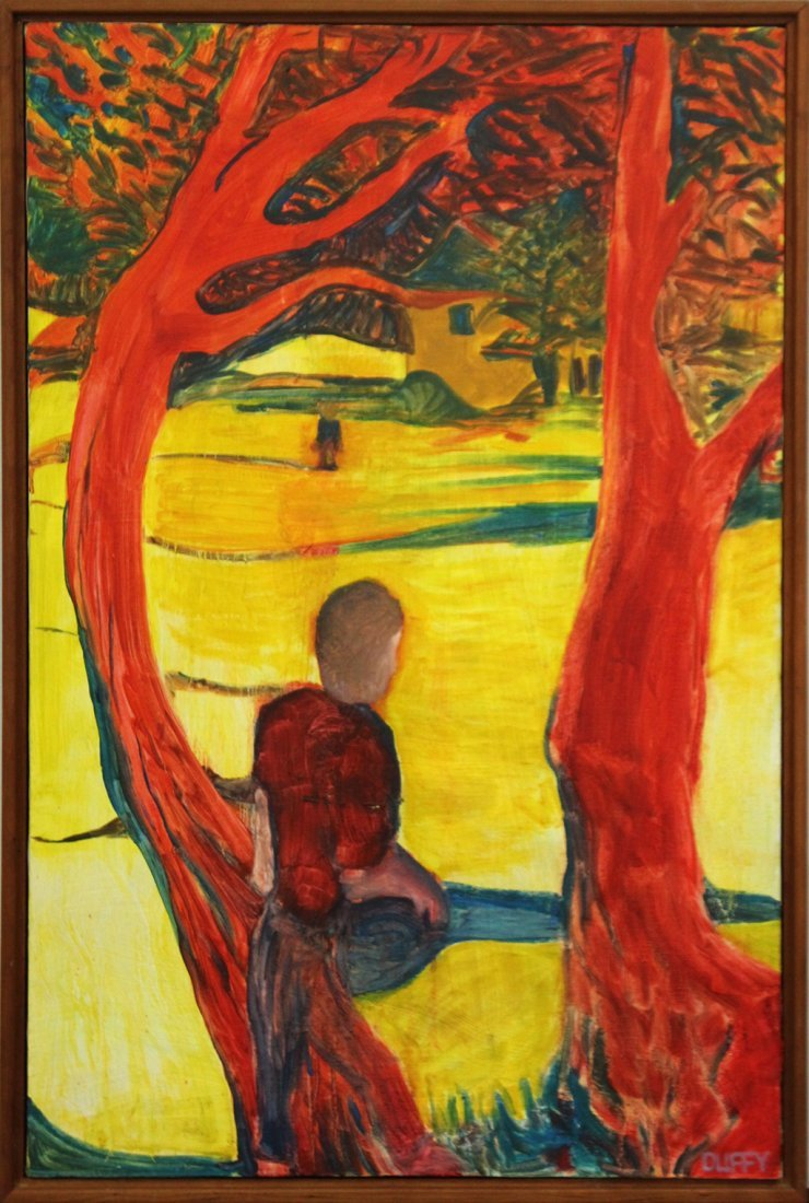 L. DUFFY; Oil/C Titled The Gulf; Boy Sitting In Tree