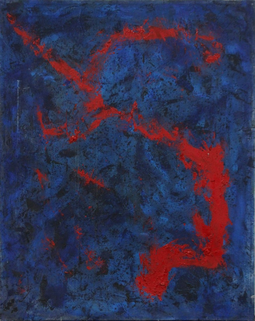 AZUL G HAS, Oil/C, Mid-Century Modern Abstract