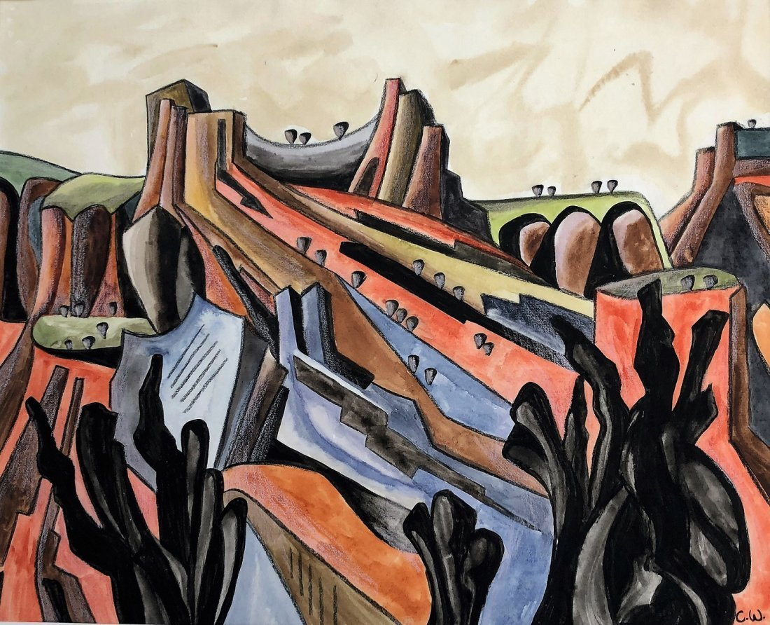 CADY WELLS, New Mexico W/C Modernism Abstract Landscape