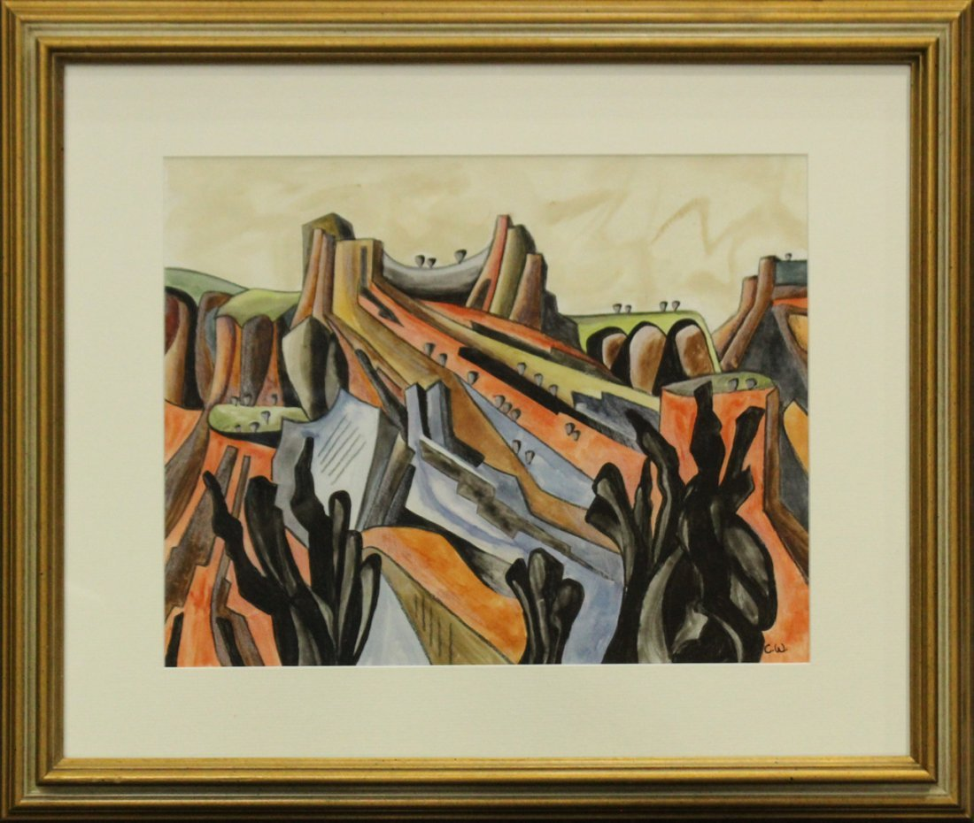 CADY WELLS, New Mexico W/C Modernism Abstract Landscape - 3