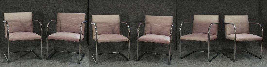 Set Six [6] BRNO FOR KNOLL Tubular Chrome Arm Chairs