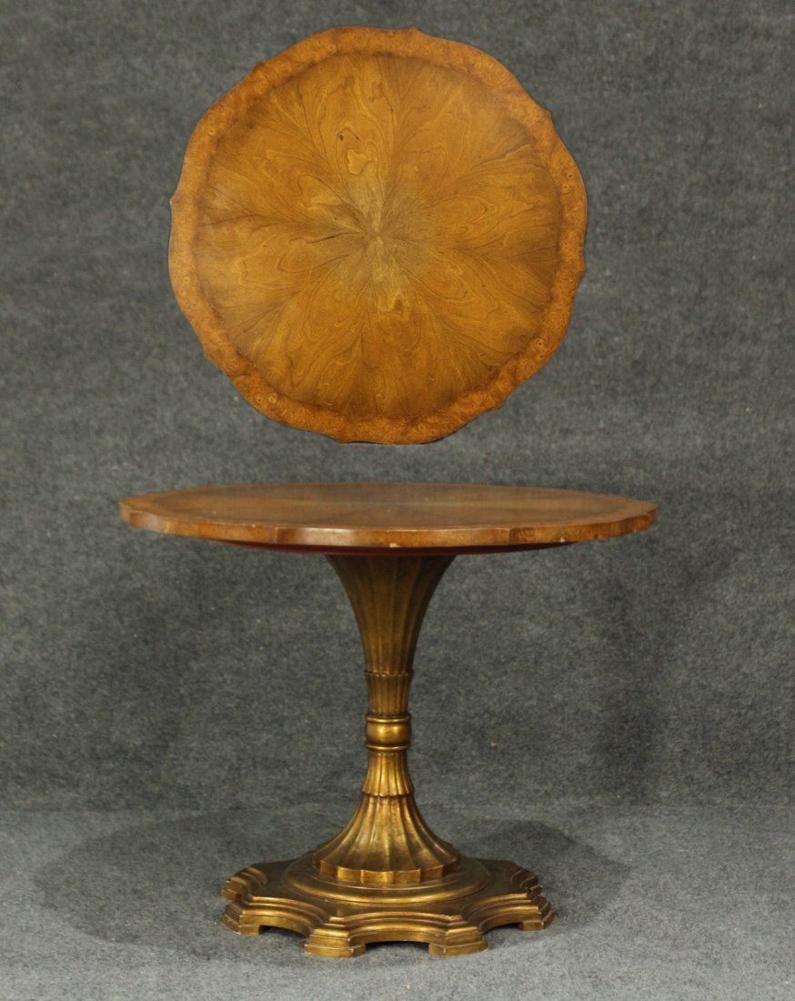 HOLLYWOOD REGENCY Burl Wood Top Pedestal Base Table