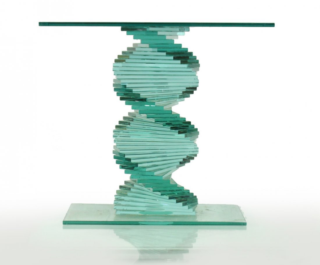 DESIGNER SPIRAL LAMINATED GLASS OCCASIONAL STAND
