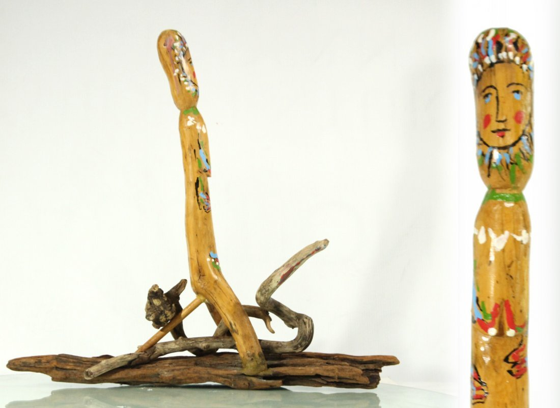 R MONTI, Mid Century Driftwood Sculpture Figure Signed