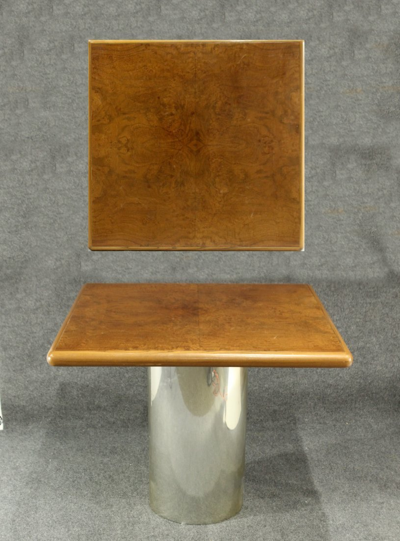 INTREX Square Top Burl Table, Cylindrical Aluminum Base