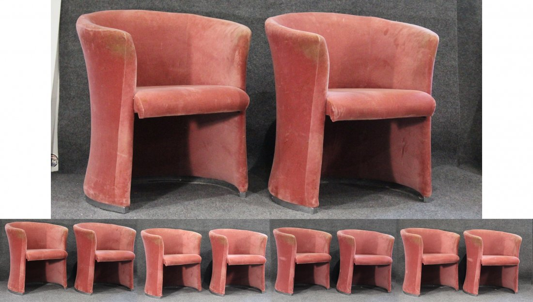 Set Eight [8] PINK VELOUR UPHOLSTERED TUB CHAIRS
